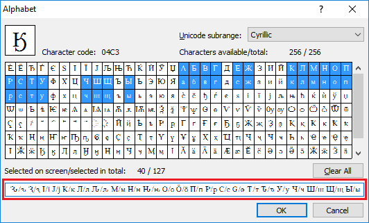 Can not find needed characters creating a new language in